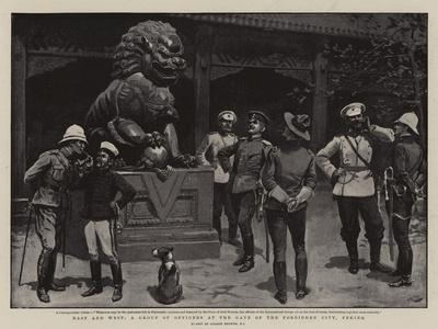 East and West, a Group of Officers at the Gate of the Forbidden City, Peking