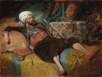 A Reclining Turk Smoking a Hookah, 1844