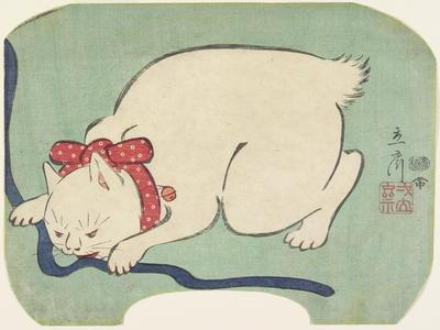 A White Cat Playing with a String, 1863
