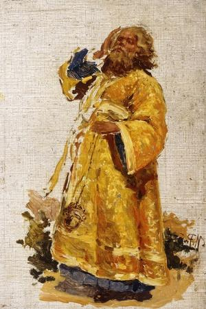 Study of the Deacon for the Painting 'The Religious Procession in the Province of Kursk' (1880-3)