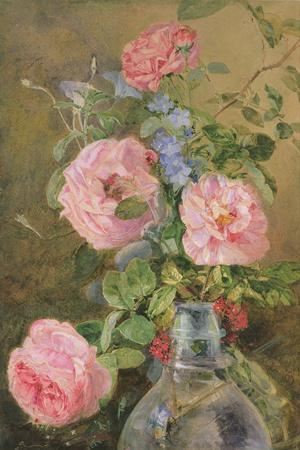 Roses, Convolvulus and Delphiniums