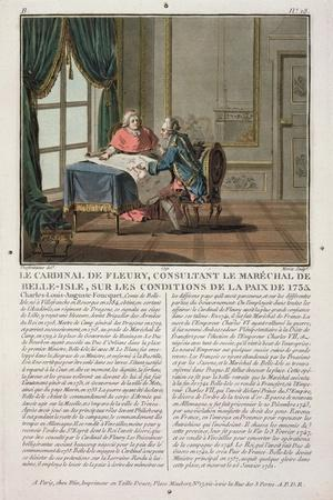Cardinal De Fleury (1653-1743) Consults with Marechal De Belle-Isle (1684-1761) on the Conditions o