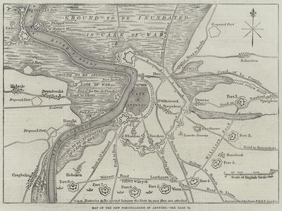 Map of the New Fortifications of Antwerp
