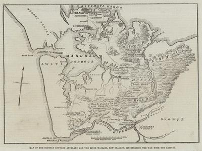 Map of the Country Between Auckland and the River Waikato