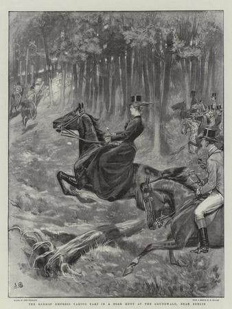 The German Empress Taking Part in a Boar Hunt at the Grunewald, Near Berlin