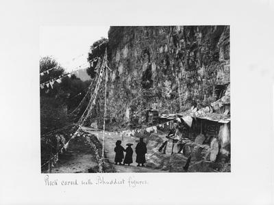Rock Carved with Buddhist Figures, Tibet, 1903-04
