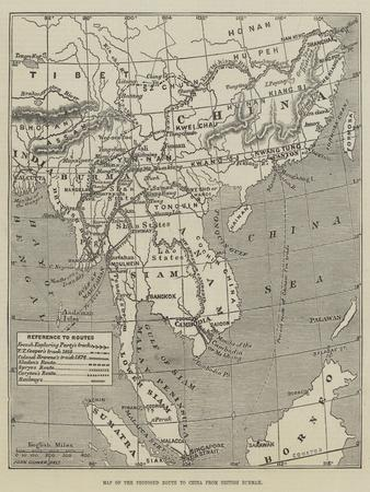 Map of the Proposed Route to China from British Burmah