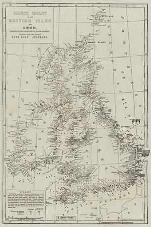 Wreck Chart of the British Isles for 1868