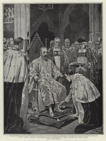 The Lord Great Chamberlain Presenting the Spurs to the King