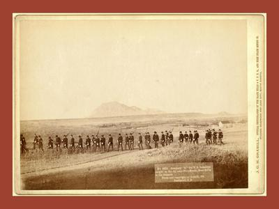 Company C, 3rd U.S. Infantry, Caught on the Fly, Near Fort Meade. Bear Butte in the Distance