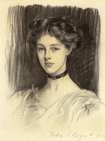 Portrait of Eva Katherine Balfour, Later Lady Buxton (1889-1978), 1911 (Black Chalk on Paper)