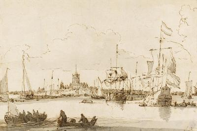 A View of Vlaardingen with Shipping in the Foreground (Pen and Ink with Wash on Paper)