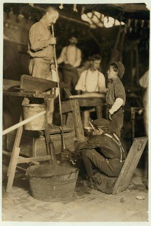 Blower and Mould Boy at Seneca Glass Works, Morgantown, West Virginia, 1908