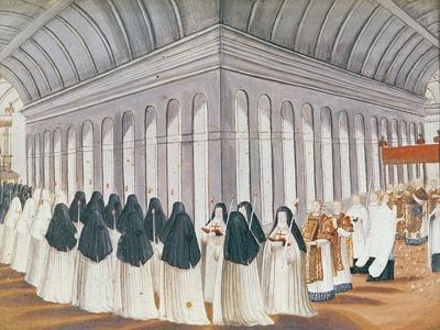 Procession of the Holy Sacrament in the Cloister, from 'L'Abbaye De Port-Royal', C.1710