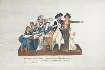 Citizens Contributing their Assignats to Equip a Young Man for War (Gouache on Card)