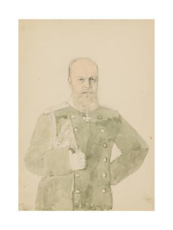 Portrait of Emperor Alexander III (1845-1894) (Pencil and W/C on Paper)