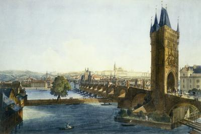 View of Prague Castle and the Little Quarter from South-West, 1836 (Coloured Aquatint)