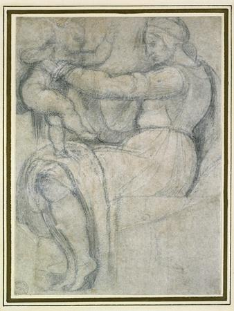 Detail from the Sistine Ceiling (Black Chalk with Touches of White Chalk on Pale Buff Paper)