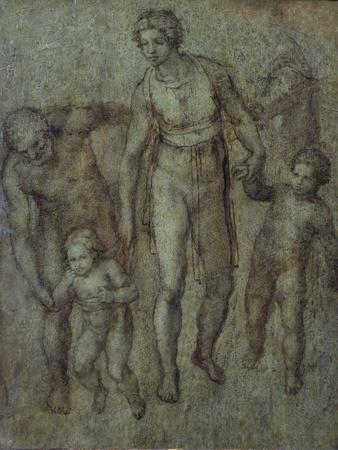 The Holy Family with St John the Baptist, C.1540 (Brush and Brown Wash on Panel)