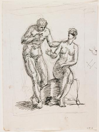 Study of a Standing Male Nude and Seated Female Nude