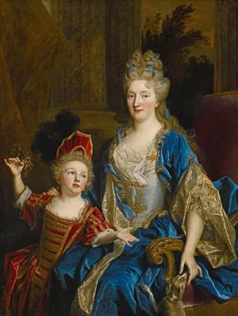 Portrait of Catherine Coustard, Marquise of Castelnau, with Her Son Leonor, C.1699
