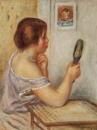 Gabrielle Holding a Mirror or Marie Dupuis Holding a Mirror with a Portrait of Coco, Early 1900S