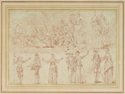 Two Fetes Galantes and Studies of Single Figures and Pairs (Red Chalk on Paper)