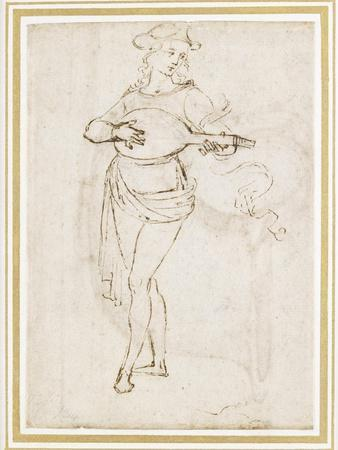 A Lute Player (Pen and Dark Brown Ink over Black Chalk on Off-White Paper)