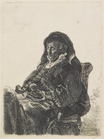 Rembrandt's Mother in Widow's Dress and Black Gloves, C.1632-35