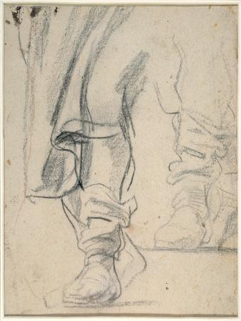 A Man's Booted Legs, and Cloak Descending (Black and Red Chalk on Paper)
