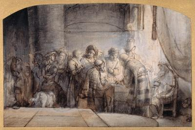 Judas Receiving the Thirty Pieces of Silver, C.1640 (Pen and Ink over Red Chalk over Wash on Paper)