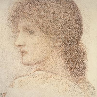 A Study of a Woman's Head, Turned to the Left, 1868 (Red Chalk on Paper)
