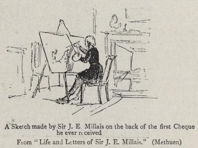 A Sketch Made by Sir J E Millais on the Back of the First Cheque He Ever Received