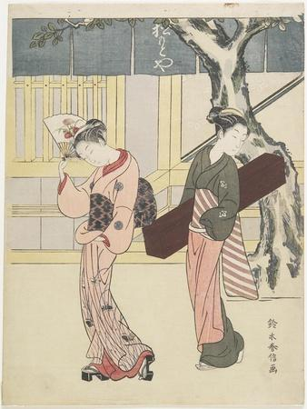 Entertainer and Her Attendant in Front of Matsumoto-Ya, C. 1768
