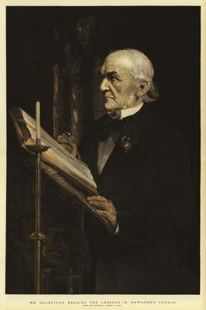 Mr Gladstone Reading the Lessons in Hawarden Church