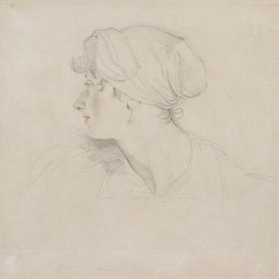 Mrs Jens Wolff (Black Chalk, Touched with Red Chalk on Thin Laid White Paper, Laid on Japan Paper)