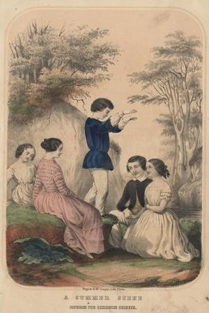 A Summer Scene, Fashions for Children's Dresses, Litho by Wagner and Mcguigan, 1850