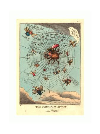The Corsican Spider in His Web, Published 1808, Hand-Colored Etching, Rosenwald Collection
