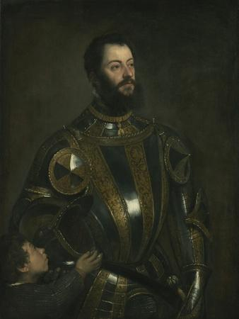 Portrait of Alfonso D'Avalos, Marchese Del Vasto, in Armor with a Page, 1533