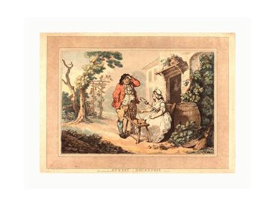 Rustic Courtship, 1785, Hand-Colored Etching and Aquatint, Rosenwald Collection