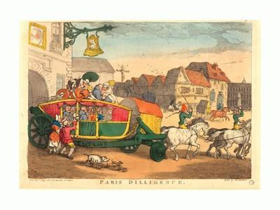 Paris Diligence, Probably 1810, Hand-Colored Etching, Rosenwald Collection