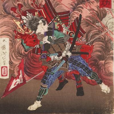 Okubo Hikozaemon Rescuing Tokugawa Ieyasu on the Battlefield, 1881