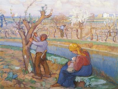 Spring in Treporti, by Umberto Moggioli (1886-1919). Italy, 20th Century