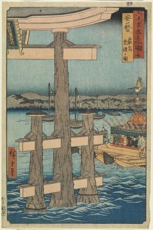 Rokuscene at Itsukushima Shrine, Aki Province, 1853
