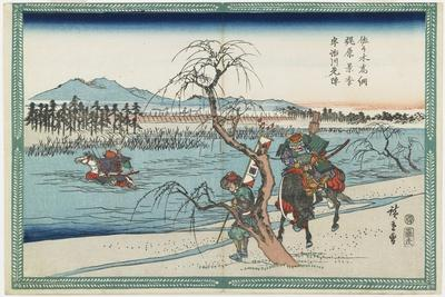 Sasaki Takastuna and Kajiwara Kagetoki Competing to Take the Lead Crosiing the Uji River, 1834-1839