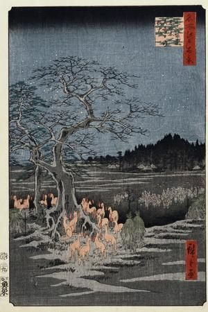 New Year's Eve Foxfires at the Nettle Tree, Oji', from the Series, 'One Hundred Famous Views of Edo