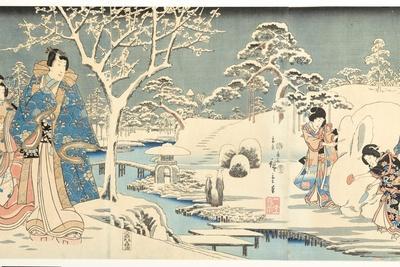 An Eastern Genji in a Snowy Garden, 1854