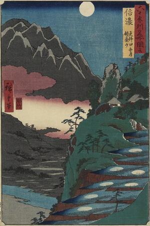 Moon Reflections on Rice Paddys at the Foot of Kyodai Mountain, Shinano Province, July 1853