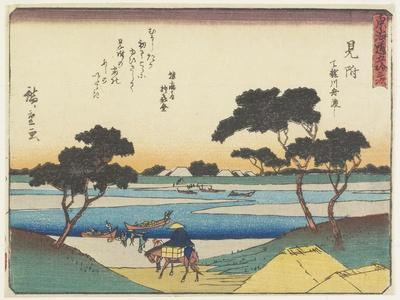 Ferry Boats Acrosssing the Tenryu River in Mitsuke, 1837-1844