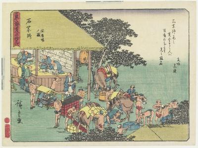 Changing Horses at the Station of Ishiyakushi, 1837-1844